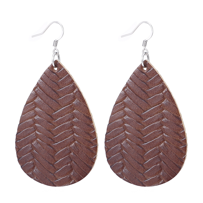 New Teardrop Leather Earrings Petal Drop Earrings Antique Lightweight S925 Carved Stainless Steel Earrings For Women Gifts 15