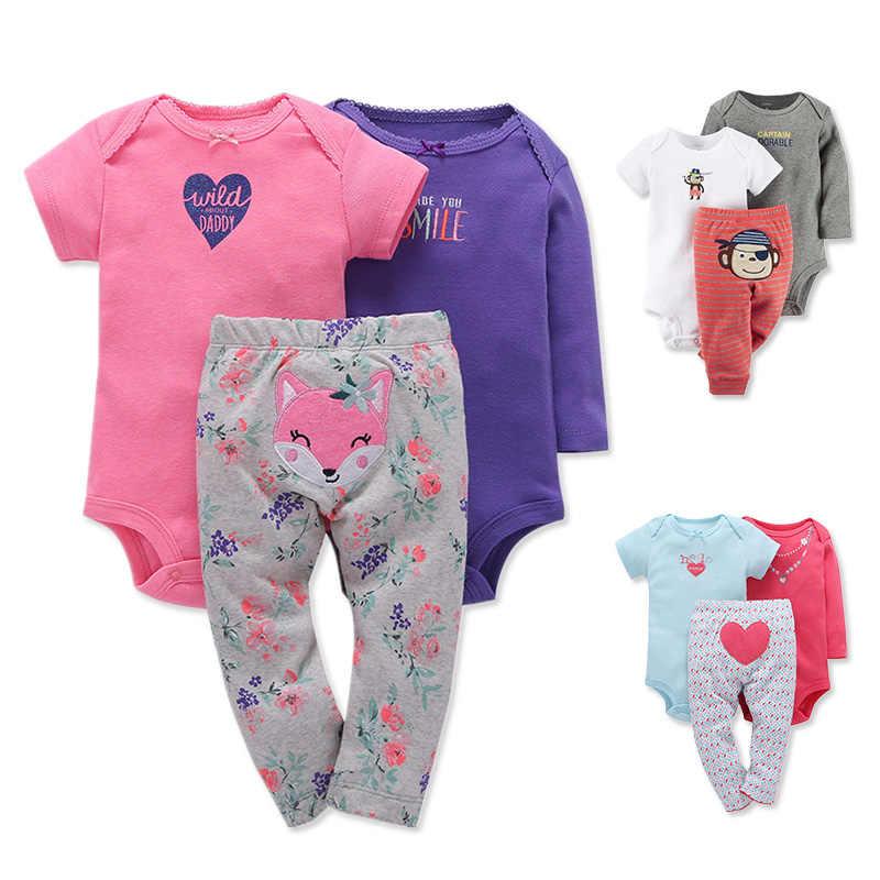 2018 весенне-летние комплекты одежды для малышей, боди с длинными рукавами и рисунком + штаны, хлопковые комбинезоны для маленьких мальчиков, одежда для новорожденных девочек
