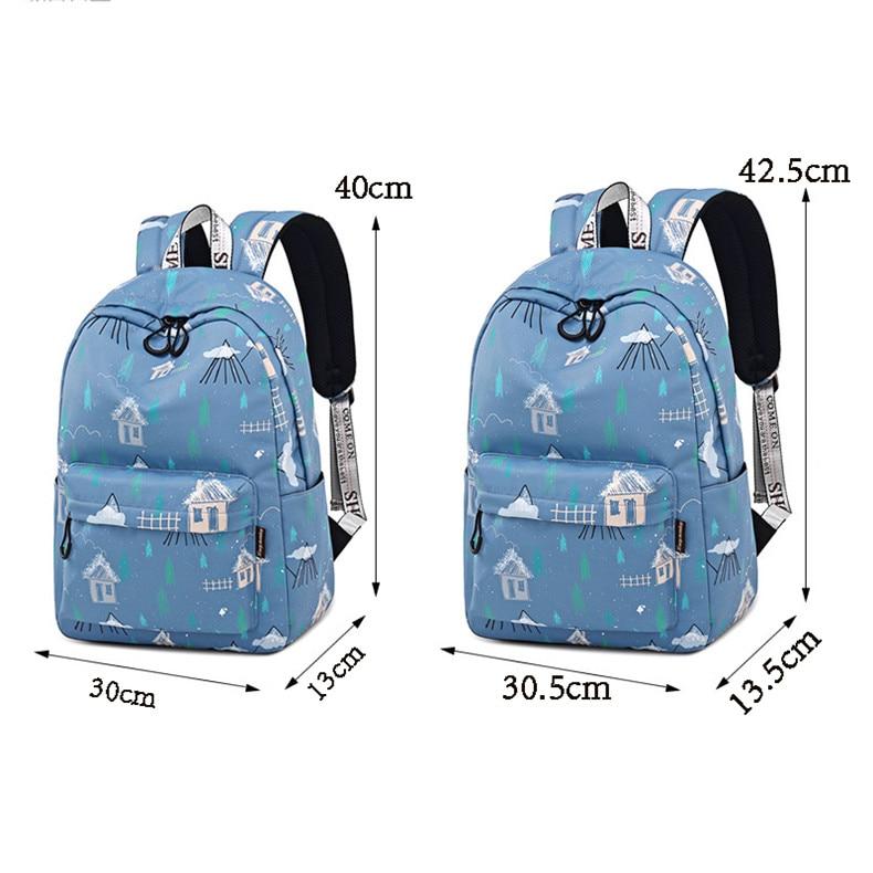 Fashion Preppy Style Waterproof Women Blue Printing Large Capacity Female Laptop Bookbag School Backpack for Teenage Girl