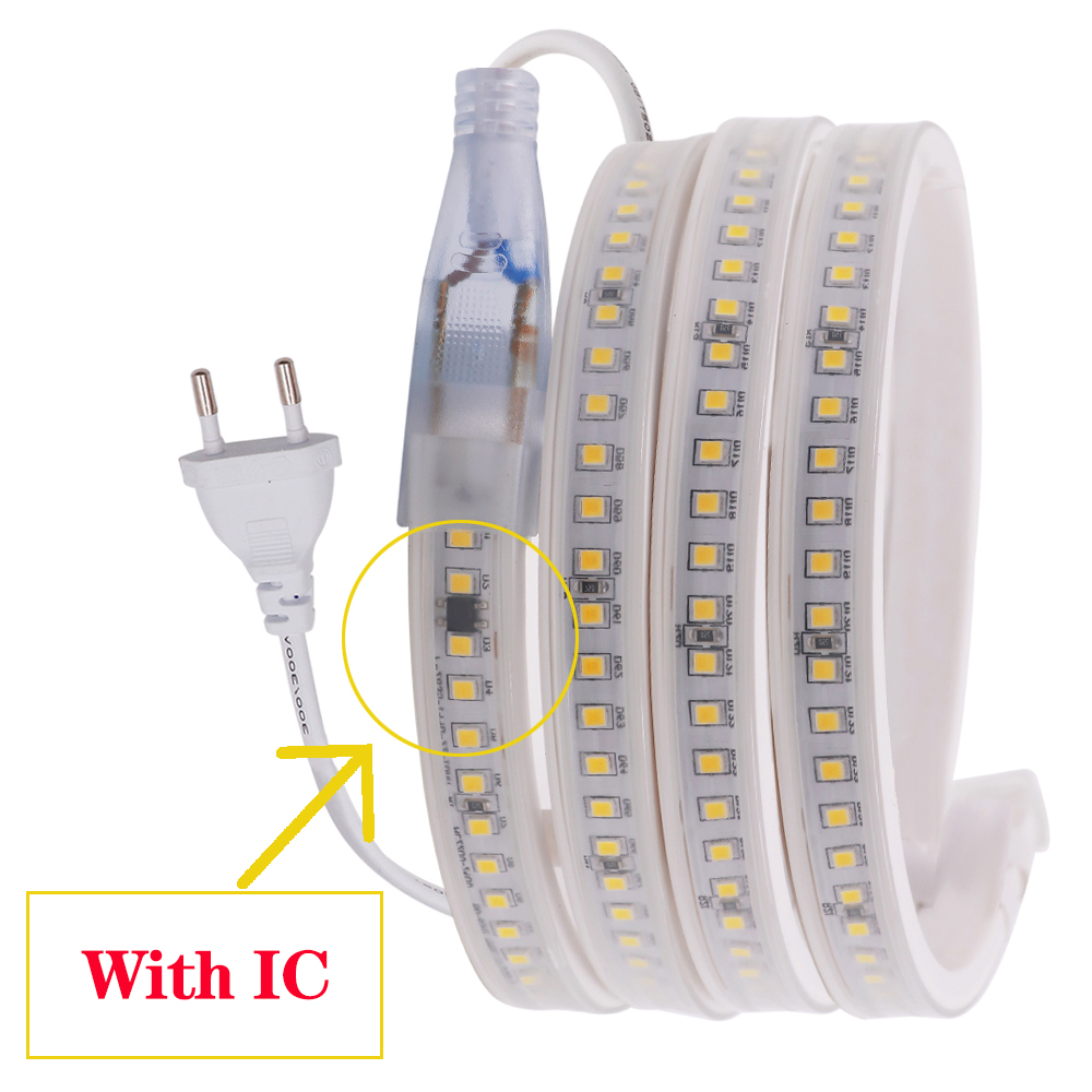 AC 220V LED Strip SMD 2835 5050 3014 Waterproof Flexible Ribbon Tape 60 120 144Leds m Led Light Strip Home Engineering Decor in LED Strips from Lights Lighting