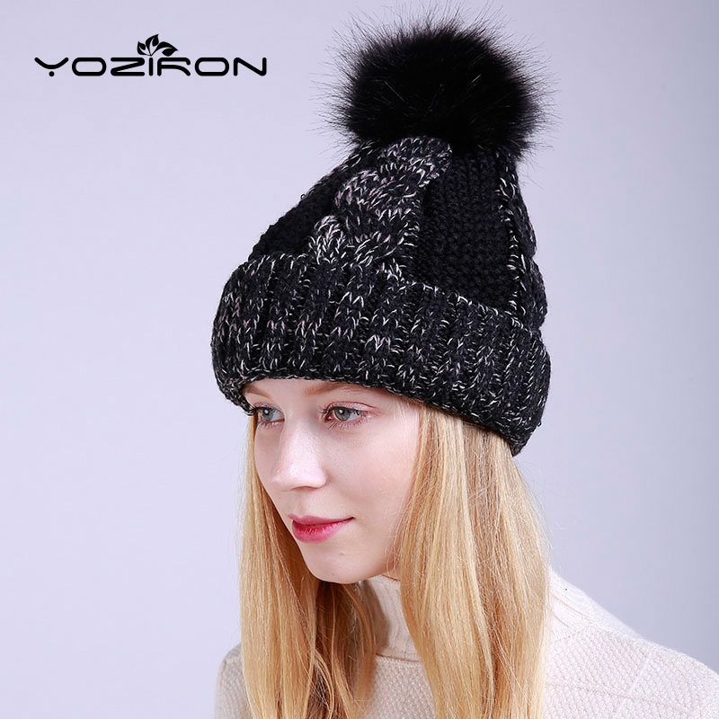 YOZIRON Warm Female Beanies Winter Hats For Women Ladies Adults Casual Wool With Pom pom Skullies Caps