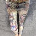 Pintado Patrón Jeans Mujer 2017 Oferta Especial Americano Pantalones Flacos del Dril de algodón de Las Mujeres Sequined Bronceadores