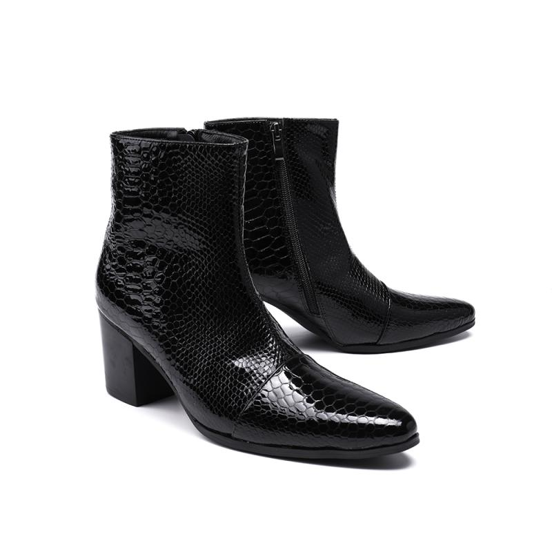 Black Snakeskin High chunky heels Martin Boots Fashion Hot Winter Boot Male Ankle Shoes Black Snakeskin High chunky heels Martin Boots Fashion Hot Winter Boot Male Ankle Shoes