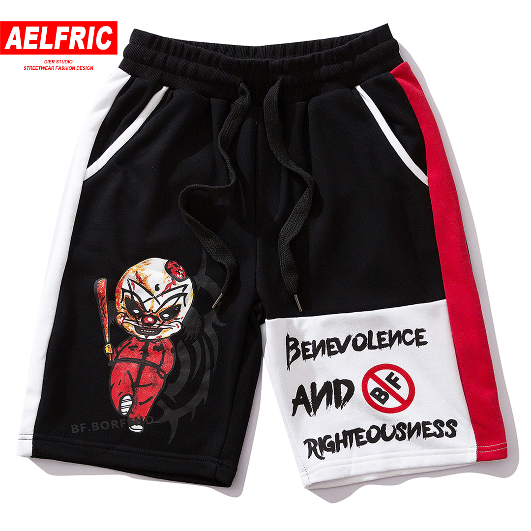 AELFRIC Summer Color Block Pockets Streetwear Men Shorts 2019 Ghost Doll Printed Hip Hop Sports Casual Loose Sweatpants Joggers