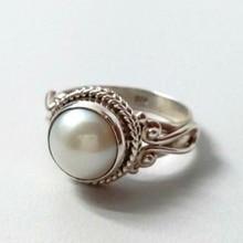 Vintage Imitation White Pearl Ring Elegant   Pattern Finger Ring Jewelry Women Wedding Engagement Ring Gifts L4T594