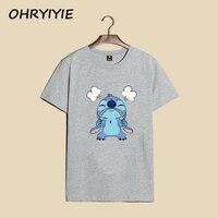 2017 Summer Style Harajuku Women Men Couples T Shirt Cute Lilo Stitch Tshirt Women Printed T
