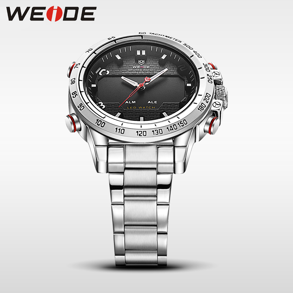 WEIDE Top Brand Men's Military Watches Men Luxury Full Steel Quartz Watch LED Display Sports Wristwatches relogio masculino 2017 men fashion quartz watch mans full steel sports watches top brand luxury cuena relogio masculino wristwatches 6801g clock