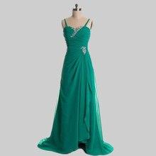 Chiffon Abendkleid mit Trägern Eine Linie Bördelte Lange Formales Kleid-abend-partei-kleid Emerald Green