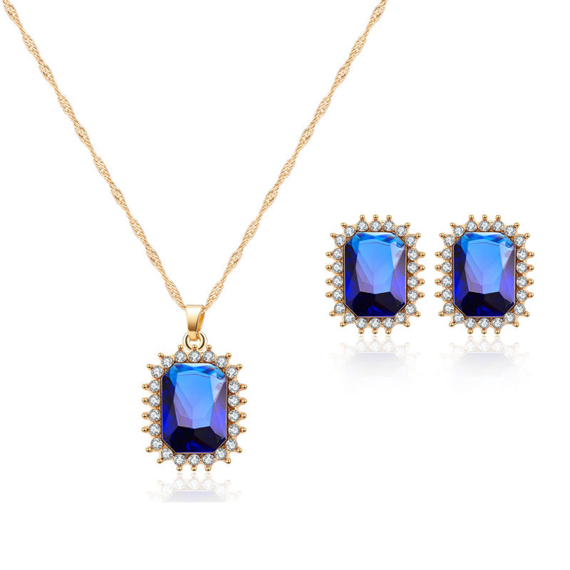 ORNAPEADIA Brand 2018 New Jewelry AAA luxury zircon Lady elegant necklace earrings set High quality classic jewelery set gift