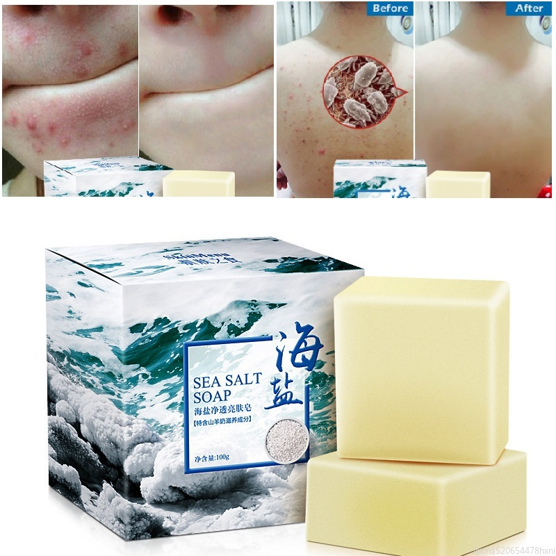 100g Goat Milk Sea Salt Cleaner Soap With Box Moisturizing Removal Face Wash Pimple Pores Acne Whitening Base Skin Care TSLM1