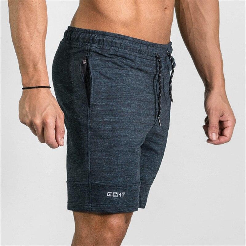 2019 Summer Zipper Pathwork Workout Cotton Shorts Men's Gyms Shorts Bodybuilding Clothing Men Fitness