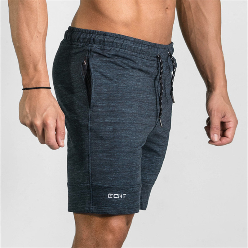2019 Summer Zipper Pathwork Workout Cotton   Shorts   Men's Gyms   Shorts   Bodybuilding Clothing Men Fitness