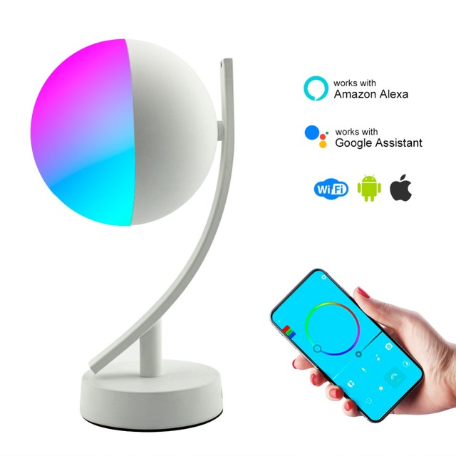 HZFCEW Smart Desk Lamp with WiFi Alexa Google Home Ambient Multicolored LED Light Bedside Lamp Voice Control iOS Android Phone