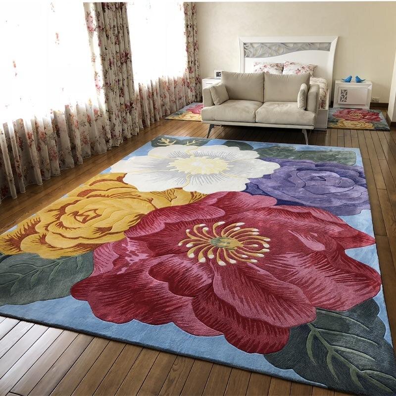 Fiori rosa su tappeti Stile Europeo e Americano Lana Ingrediente per corridoio Mat Tappeti Decorazione Full size tappeto Floreale tappeto