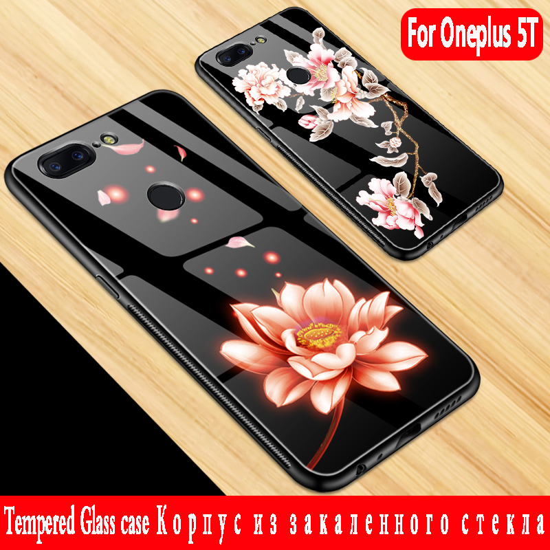 For Oneplus 5T case Luxury Tempered Glass Hard Back Cover Soft TPU Silicone Bumper for Oneplus 5T Cover for oneplus 5 t case 3d