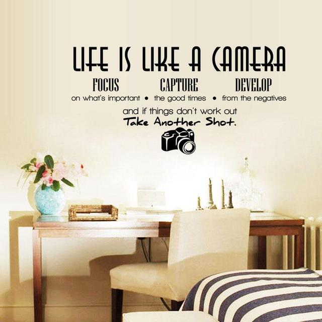 Unique Creative Removable Life Is Like A Camera Quote Wall Stickers Decals Office Study Decoration Diy