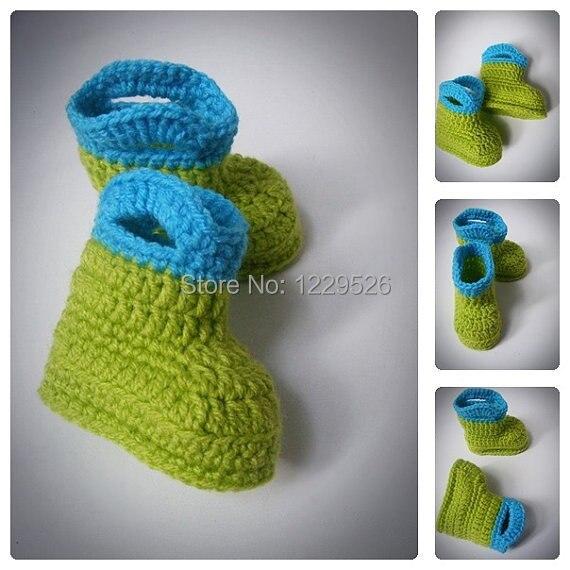 Verde E Blu Uncinetto Bambino Pioggia Stivali Scarpine Uncinetto