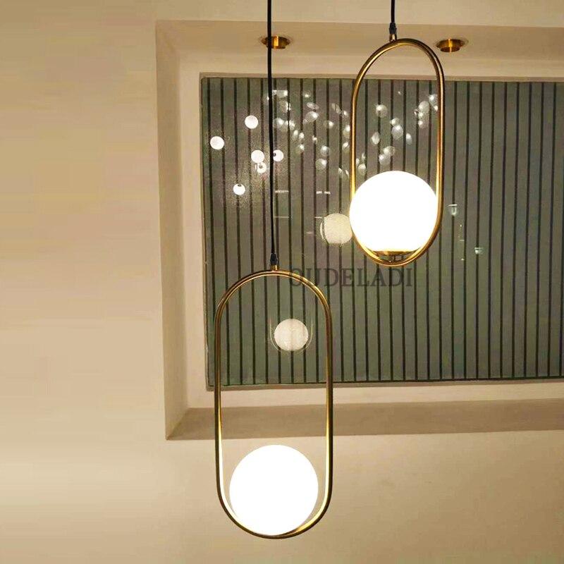 American Creative Glass Ball Pendant Lights Iron Hoop Hang Lamp For Bedroom Cafe Restaurant Bar Indoor Lighting Fixtures Decor Lights & Lighting Pendant Lights