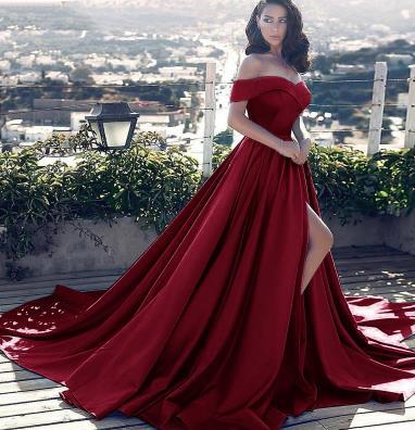Vestido longo, сексуальные вечерние платья с разрезом, с открытыми плечами, платье для выпускного вечера,, официальное вечернее платье, Vestido De Noiva - Цвет: Burgundy