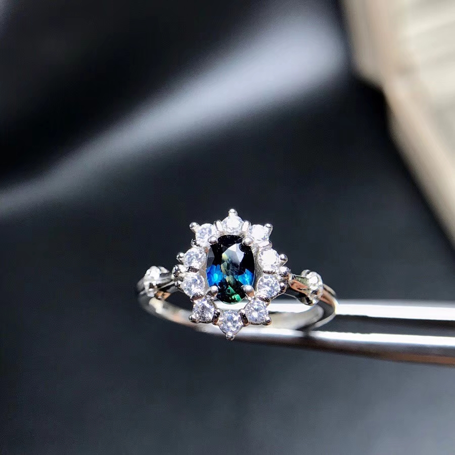 Natural blue sapphire gem Natural gemstone ring S925 sterling silver trendy Elegant Sun flower women party gift fine Jewelry