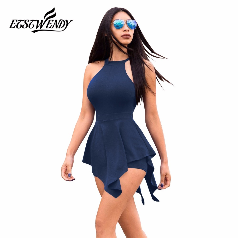 c014e4790674 New Summer 2019 Sleeveless Casual Playsuit Women Beach Jumpsuit Ruffles  Elegant Slim Women Clothes White Black