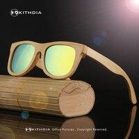 KITHDIA 2016 TOP Brand Designer Men Wood Bamboo Sunglasses New Polarized Wood SunGlasses Original Box Retro
