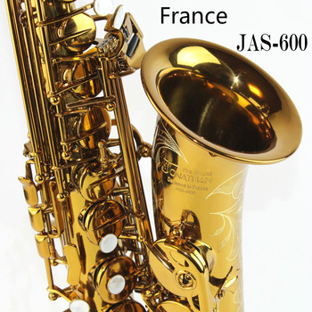 France Jonathan JAS-600 Alto E Flat Saxophone Brass Body Gold Carved Electrophoresis Gold Alto Saxophone with Leather Case