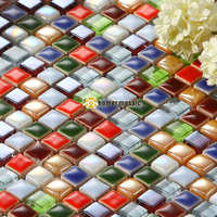colorful candy ceramic small bead mosaic tiles for child living room kitchen backsplash bathroom fireplace mosaic free shipping