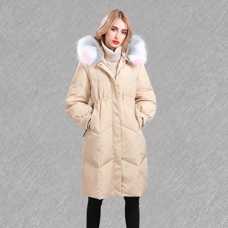 Le Réel Femme Mode À Vers Long Bas black Longue white Coloré Épais Beige Manteau pink Col Duvet Wq141 Hiver Capuchon Canard Super Marque Doudoune De Fourrure AqIxUrPA