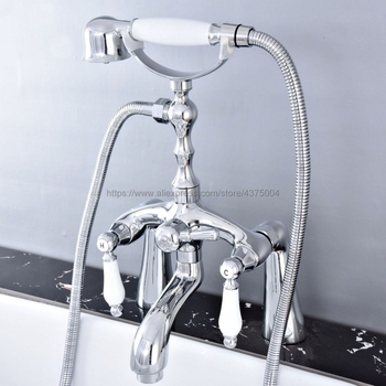 Bathtub Faucet Chrome Deck Mounted Bathroom Tub Faucet Dual Handle W/ Hand Shower Sprayer Tub Mixer Tap Ntf758 antique brass wall mounted bathroom tub faucet dual ceramics handles telephone style hand shower clawfoot tub filler atf018