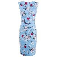 2017 Summer Women Bodycon Dress V Neck Print Flower Light Blue Floral Sexy Dress Sleeveless Female