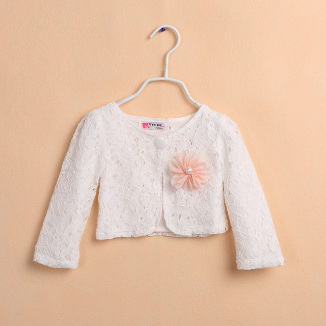 2017 Latest Cotton Girls Cardigan Outerwear Children White Shrug ...