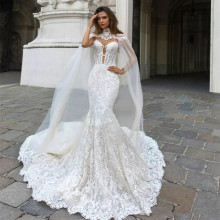 2018 Mermaid/Trumpet Lace Wedding Dresses for Women Sleeveless Strapless Lace Appliques Sexy Backless Dresses Custom made