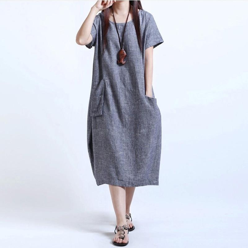 Plus la Taille des Robes Pour Les Femmes 4xl 5xl 2017 Femmes D'été Court manches Lâche Occasionnel Coton Lin Robe Maxi Longue Grande Taille Robes