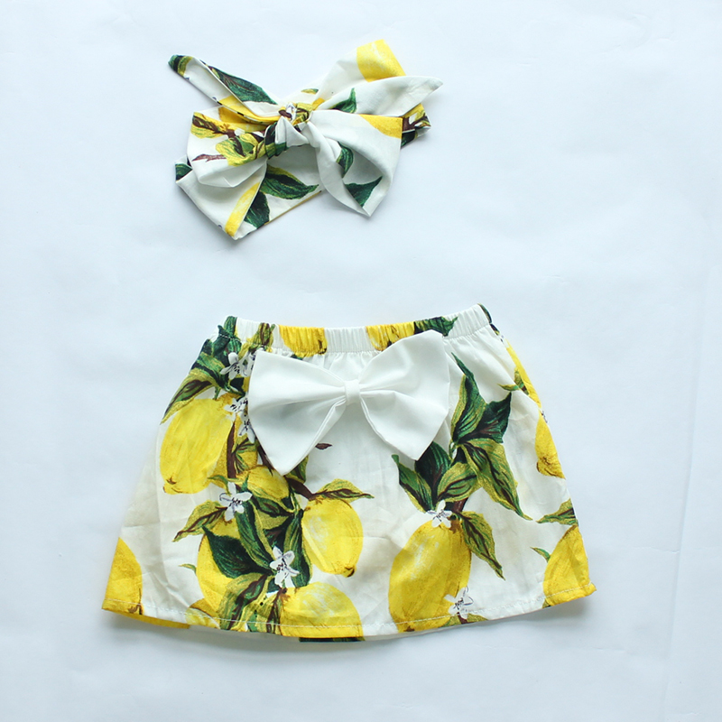 baby girls clothes 2016 new style baby girl skirts floral fruits printing girls skirt matched bow headband