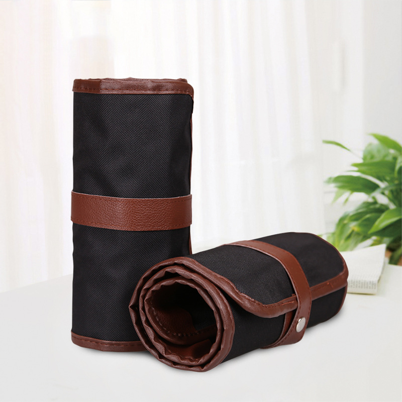Penalty Pencil Case School Canvas Roll Pouch Makeup Comestic Brown Brush Pen Storage pecncil box Estuches School 36/48/72 Holes