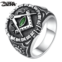 ZABRA Vintage 925 Silver Ring Mens Green Cubic Zirconia Masonic Rings For Men Punk Cool Gift Sterling Silver Symbols Jewelry