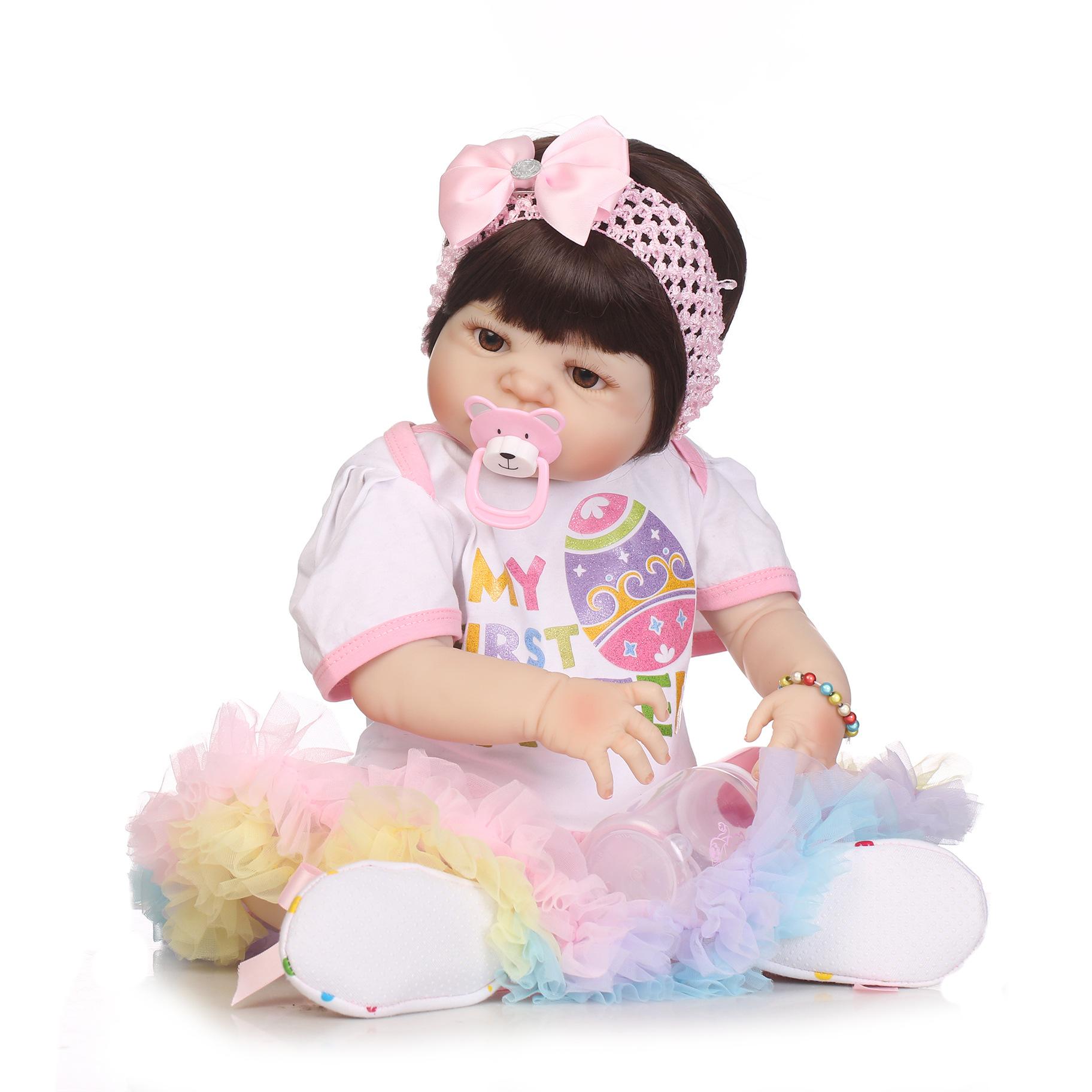 Soft Silica gel Doll 56cm Reborn Baby Appease Doll Lifelike Babies play play house toy for Children's Christmas Birthday Gift soft silica gel doll 57cm reborn baby appease doll lifelike babies play play house toy for children s christmas birthday gift