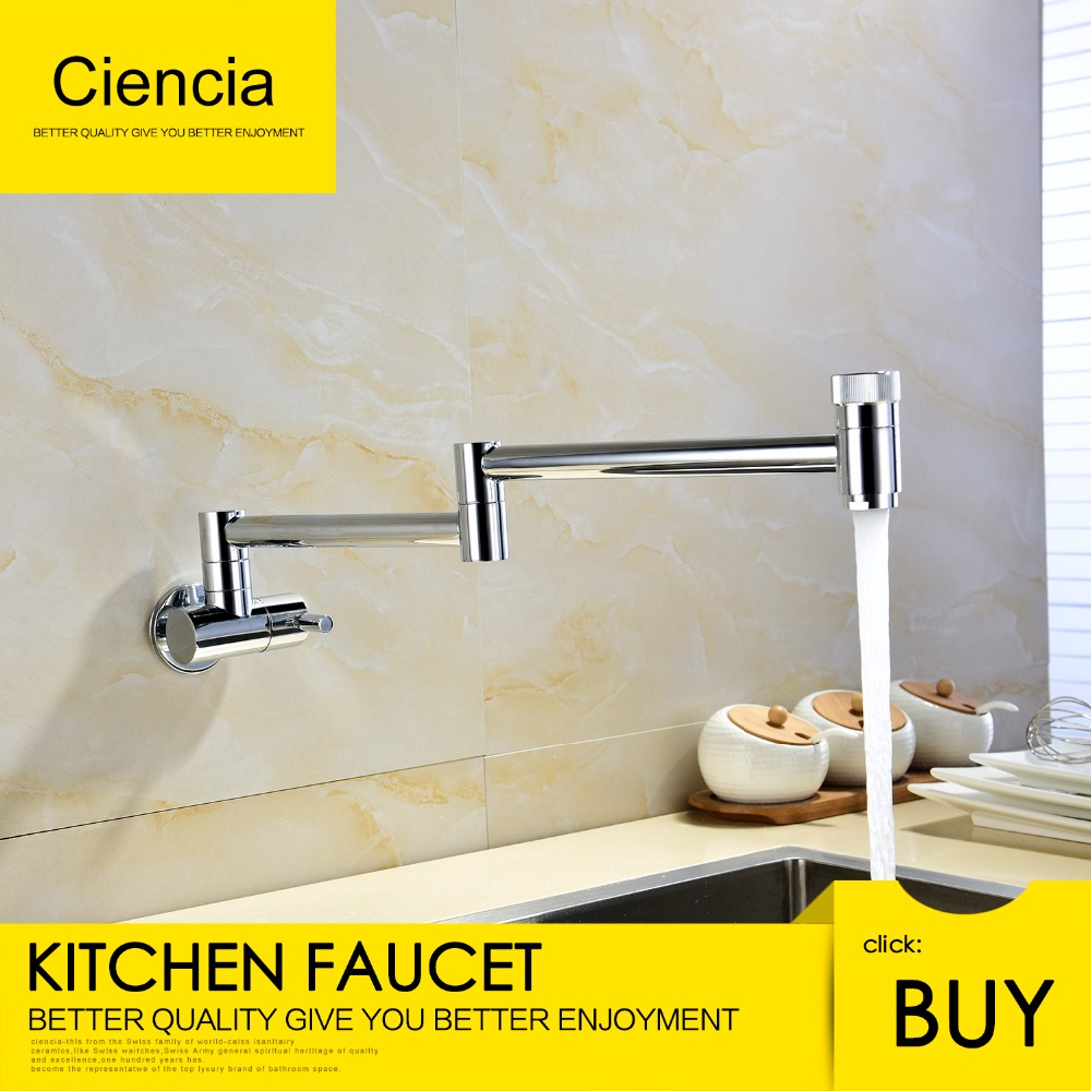 Free Shipping 360 Degrees Rotatable Double switch Swinging Spout From Kitchen Sink Taps wall mounted kitchen faucet bathroom ydl f 0581 wall type 360 degrees rotatable chrome plated brass kitchen sink faucet silver