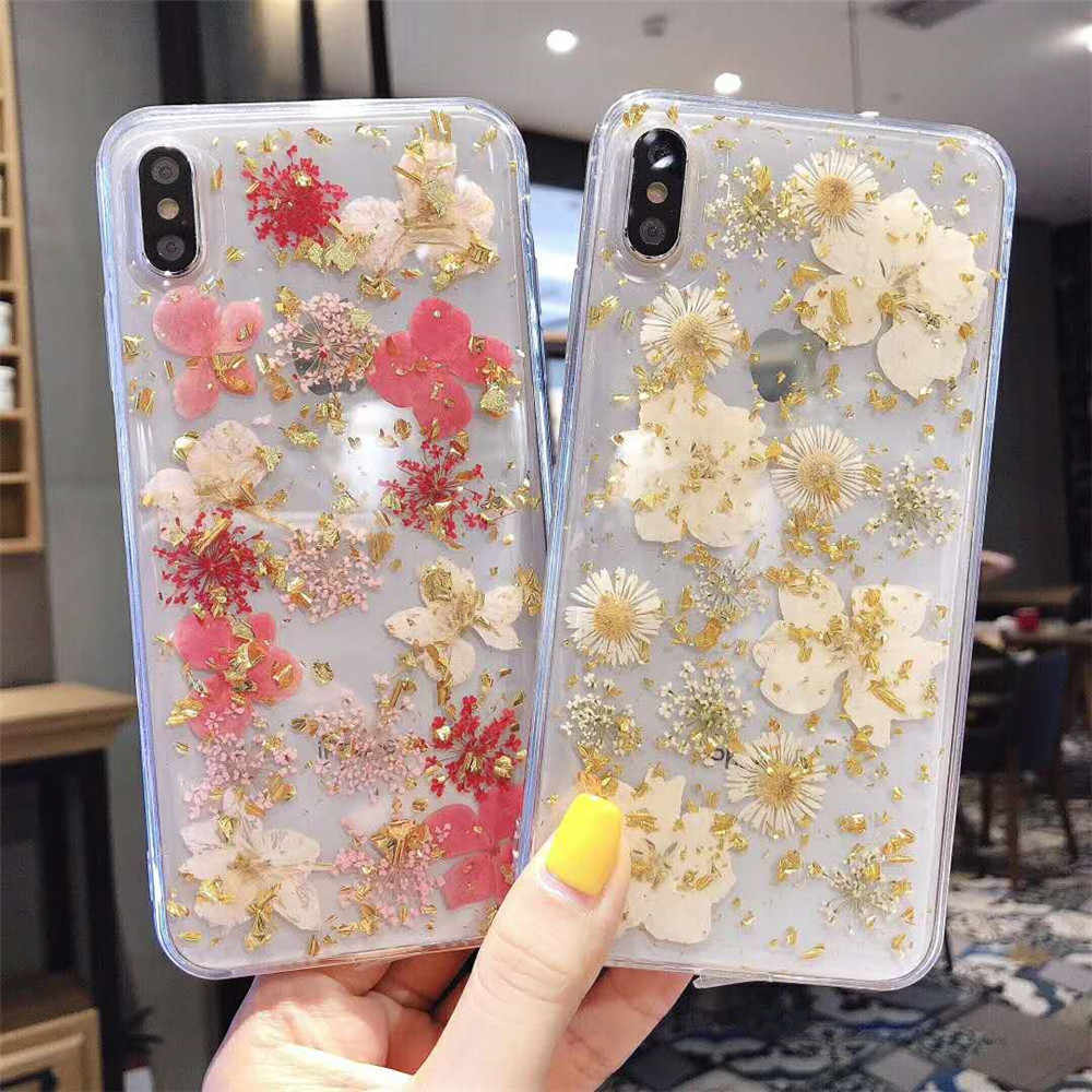 Capa para iphone xs max xr 6 6s 7 8 plus x 11 11pro max silicone tpu claro floral capa