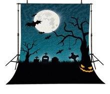 Abóbora Morcegos Lua Cemitério Halloween crianças Fundos Computador impresso backdrops Vinil pano de Alta qualidade