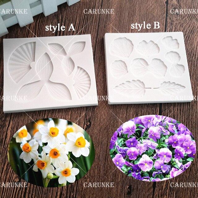 Carunke flower Narcissus Violet silicone mould fondant mold Cake