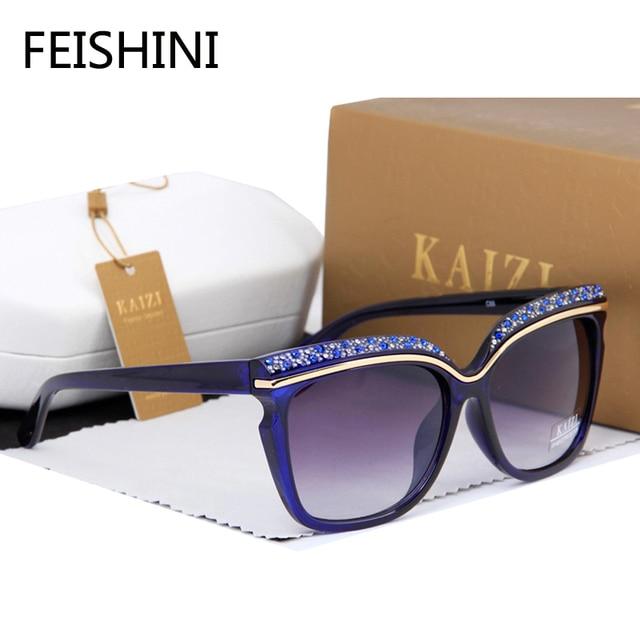 FEISHINI 100%High Quality Market Monopoly Sunglasses Women Brand Designer Luxury Artificial Crystal shine Polyurethane Glasses