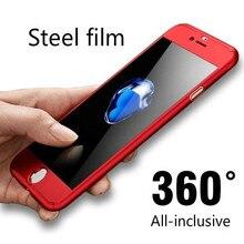 06a584e466d Caja del teléfono móvil 360-incluido para iPhoneX XR XS 7 8 rojo cubierta  protectora de cristal para iPhone8 7 Plus cobertura co.