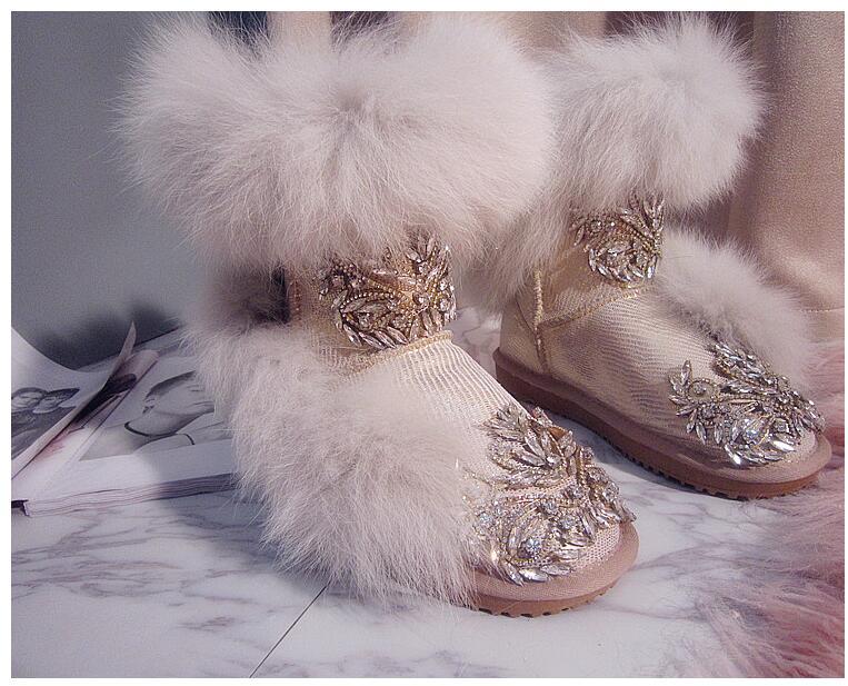 18 Neige De Beige Haute Chaussures Bottes Super Fourrure Cuir Européenne Diamant Station Renard En Coton Nouvelle Imperméable D'origine Épais UMSVpGqLz