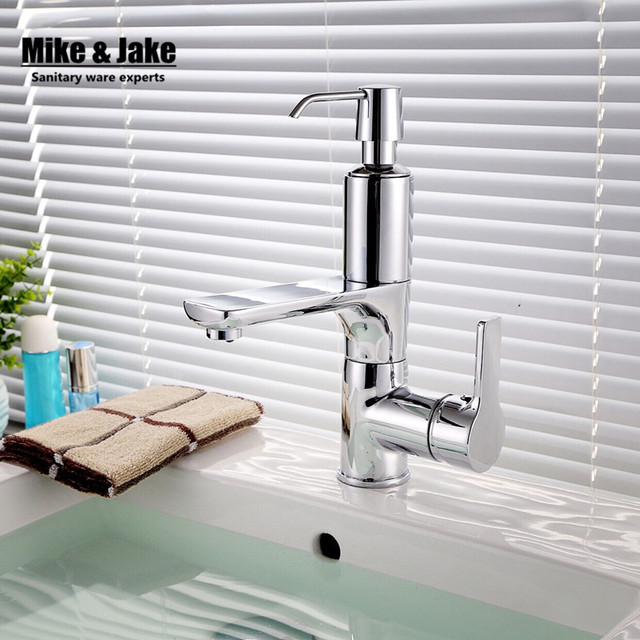 Bathroom faucet with soap dispenser chorme faucet basin crane 2 in 1 sink soap dispenser tap soap faucet water mixer-in Basin Faucets from Home ...