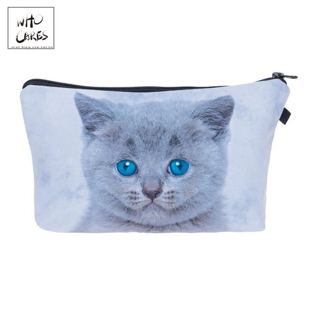 Siapa Yang Peduli Fashion Printing Lucu Biru Mata Kucing Abu-abu Makeup Tas Kosmetik Organizer Tas Wanita Tas Wanita Tas Kosmetik