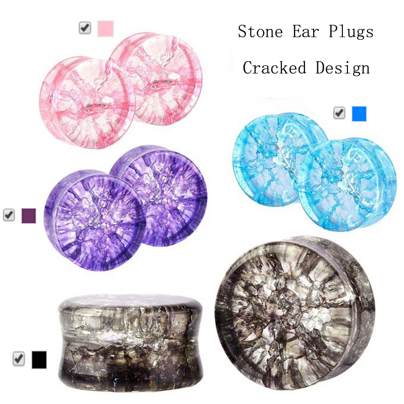 Gauge Expanders Saddle-Plug Piercing Ear-Tunnel Glass Showlove-Pair Double-Flared Stretcher