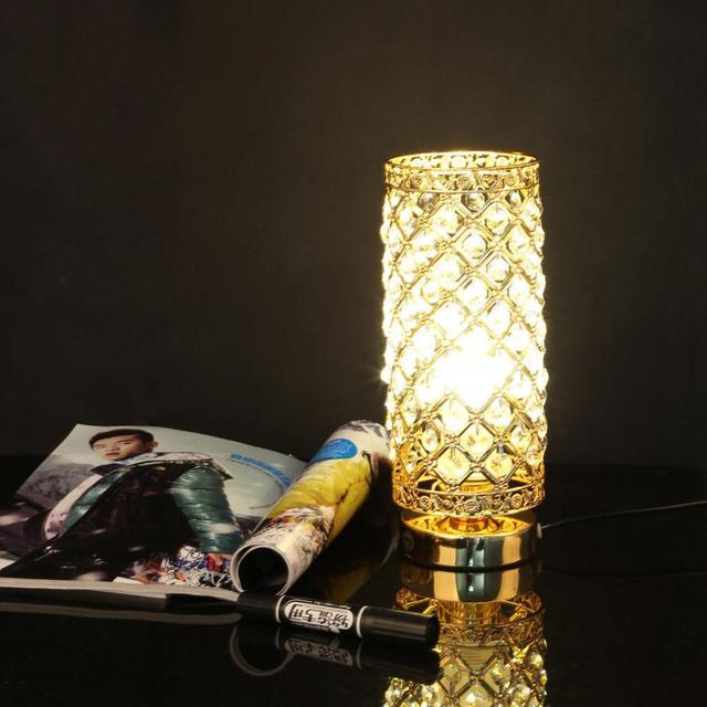 Aliexpress Com Buy 220v Led Decorative Crystal Silver Table Lamp