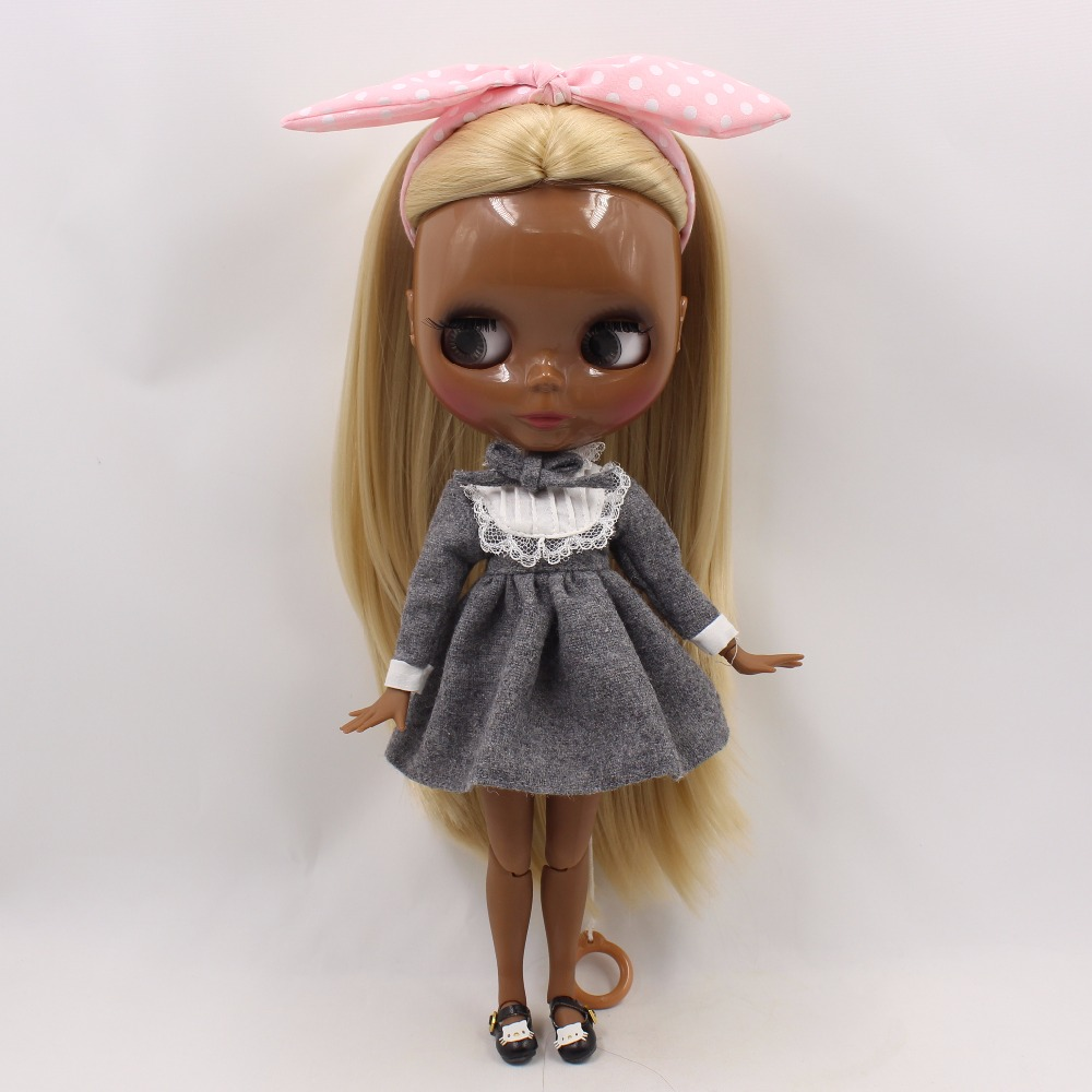 Neo Blythe Doll with Blonde Hair, Black Skin, Shiny Face & Jointed Body 2